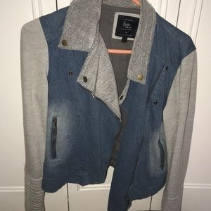 Moto style cotton on denim jacket